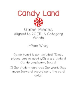 Candy Land Game Pieces (aligned to 2G IRLA Category Words)