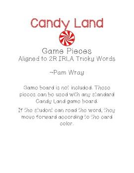 Candy Land Game Pieces (2R IRLA Tricky Words)