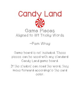 Candy Land Game Pieces (aligned to Wt IRLA Tricky Words)