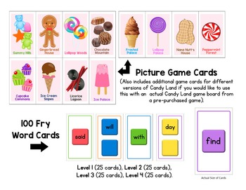 Candy Land Game - Second Hundred FRY Words