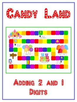 Candy Land Math Folder Game - Common Core - Adding 2 and 1