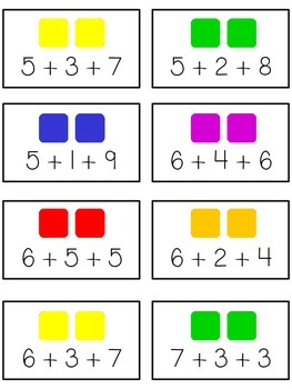 Candy Land Math Folder Game - Common Core - Adding Three 3 Numbers