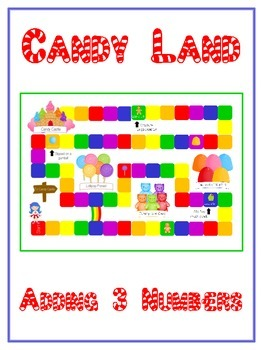 Candy Land Math Folder Game - Common Core - Adding Three 3