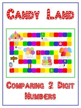 Candy Land Math Folder Game - Common Core - Comparing 2 Digit Numbers