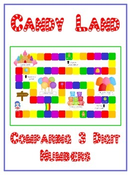 Candy Land Math Folder Game - Common Core - Comparing 3 Di