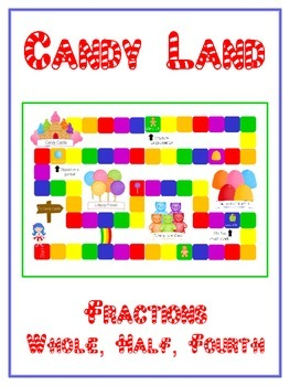 Candy Land Math Folder Game - Common Core - Fractions