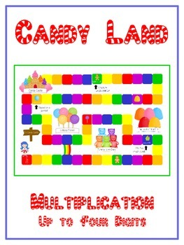 Candy Land Math Folder Game - Common Core - Multiplication 1 2 3 4 Digits