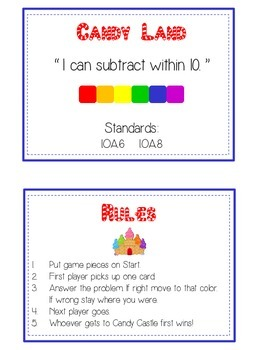 Candy Land Math Folder Game - Common Core - Subtracting within 10