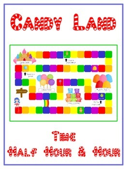 Candy Land Math Folder Game - Common Core - Telling Time Half Hour Hour