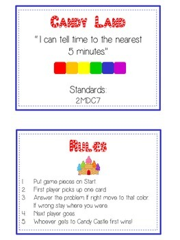 Candy Land Math Folder Game - Common Core - Telling Time within 5 Minutes