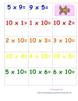 Candy Land Multiplication 2, 5, 10's