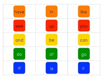 Candy Land Sight Word Cards