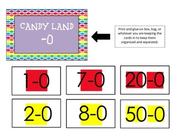 Candy Land Subtraction Cards (single digit)