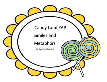 Candy Land Themed Simile and Metaphor Figurative Language ZAP game