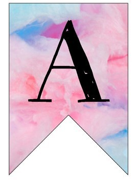 Candy Land watercolor/cotton candy banner (printable)
