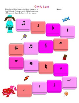 Valentine Candy Lane Musical Symbols Worksheet