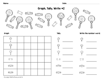 Candy Math: Graph, Tally, Write (Number Words)