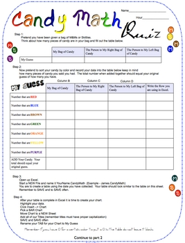 Candy Math Quiz for Grades 3-8