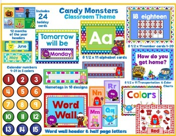 Candy Monster Themed Classroom Resources for Back to School