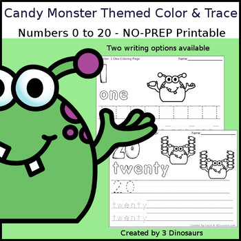 Candy Monster Themed Number Color and Trace