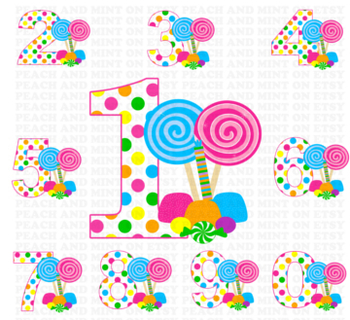 Candy Numbers Clip Art - Candy Numbers Clipart
