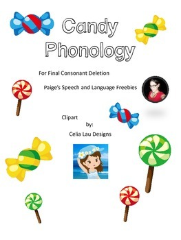 Candy Phonology Cards for Final Consonant Deletion
