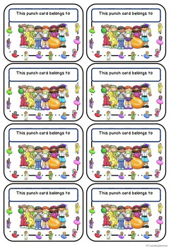 *Freebie* Candy Punch Cards for Classroom Management