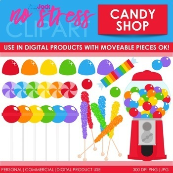 Candy Shop Clip Art Red Set (Digital Use Ok!)