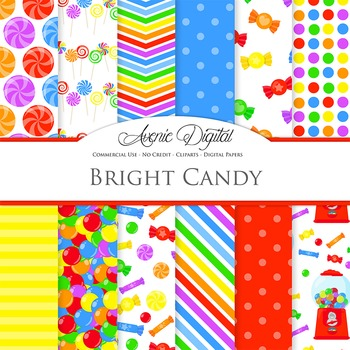 Candy Shop Digital Paper Background Candies patterns. Swee