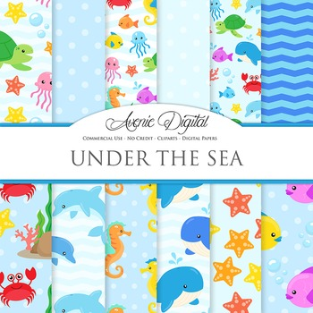 Under the Sea Digital Paper Background Nautical patterns.