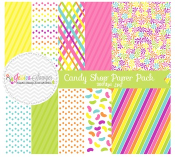 Candy Shop Digital Papers, Rainbow Backgrounds