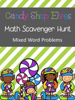Candy Shop Elves Scavenger Hunt Math Word Problems (add,su