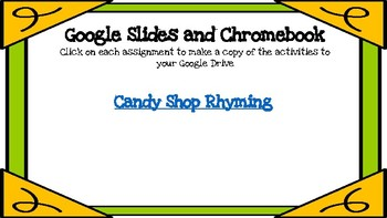 Candy Shop Rhyming-A Digital Literacy Center (Compatible with Google Classroom)