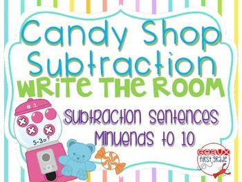 Candy Shop Subtract Around the Room-Minuends to 10