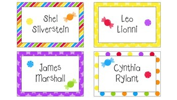Candy Shop Themed Book Bin Labels
