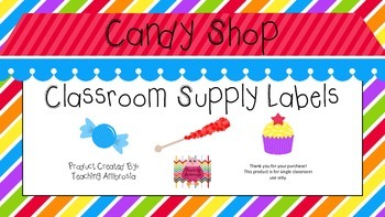 Candy Shop Themed Classroom Supply Labels