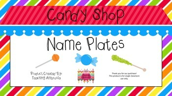 Candy Shop Themed Name Plates for Desks