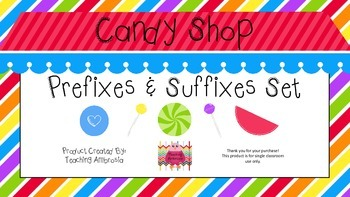 Candy Shop Themed Prefixes and Suffixes Set