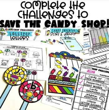 Candy Shop Themed Stations > Addition, Graphing, Sight Words, Punctuation
