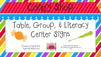 Candy Shop Themed Table, Group, and Literacy Center Signs