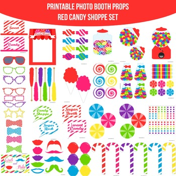 Candy Shoppe Red Printable Photo Booth Prop Set