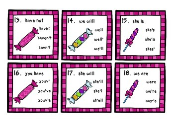 Candy Store Contractions Task Cards - 27 multiple choice cards for ELA stations