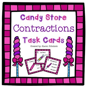 Candy Store Contractions Task Cards - 27 multiple choice c