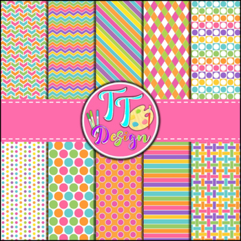 Candy Store Digital Background Papers {12 x 12} Clip Art CU OK