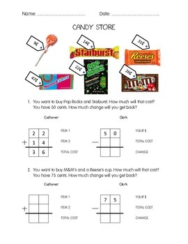 Candy Store Math - 2nd Grade - Common Core Aligned