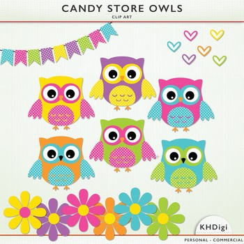 Candy Store Owls Clipart - 6 Owls, 6 Flowers, 6 Hearts, Bunting