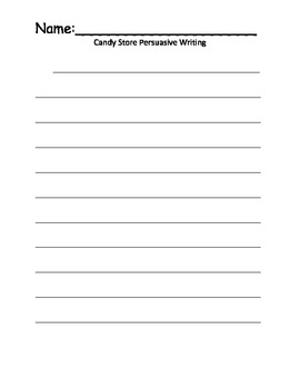 Candy Store Persuasive Writing Templates Common Core