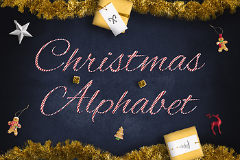 Candy Stripe Alphabet Clipart, Christmas Candy PNG Letters And Numbers