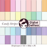Candy Stripes Digital Paper, Colorful Background Patterns