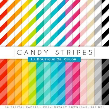 Candy Stripes Digital Paper, scrapbook backgrounds